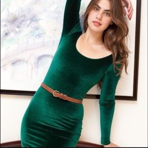 American Apparel emerald green VELVET MINI DRESS M